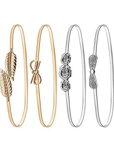 - Bememo 4 Pieces Women Elastic Waist Belt Stretch Metal Dress Belt (Color Set 1)