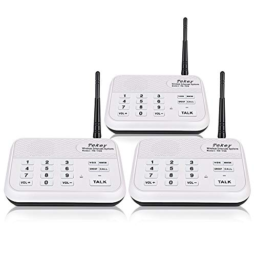 TekeyTBox Wireless Intercom System (2018 Version), TekeyTBox 1800 Feet Long Range 10 Channel Digital FM Wireless Intercom System for Home and Office Walkie Talkie System for Outdoor Activities(3 Stations White) price tips cheap
