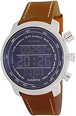 Suunto Elementum Terra Negative Digital Display Quartz Watch, Brown Leather Band, 51.5mm Case