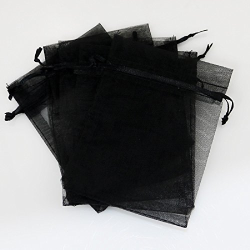 - EWEE 50 Pcs 5x7 inch Black Sheer Organza Drawstring Bags Jewelry Pouches Party Wedding Favor Gift Bags