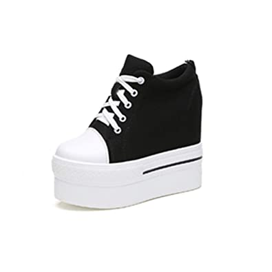 fba8774e517a5 YC WELL Womens Wedge Platform Sneaker Flat Canvas Shoes Lace up Platform  Sneakers