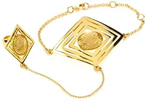 House of Harlow 1960 Gold-Plated Clear Double Diamond-Shaped Hand Piece, Size 5