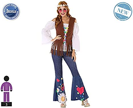 Atosa-60004 Atosa-60004-Disfraz Hippie-Adulto Mujer, Color marrón ...
