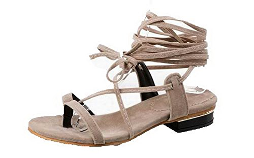 Heels Gray Open VogueZone009 Lace up Toe Low Women Sandals Materials Solid Blend CXxXBqSw