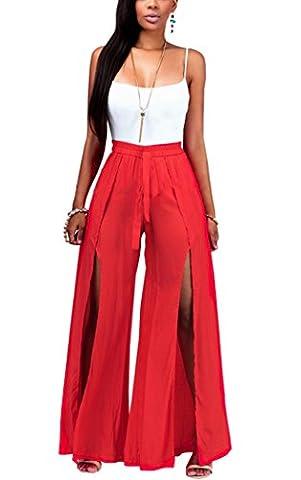 Mojessy Women's Strap 2 Pieces Outfit Crop Top + Long Pants Slit Wide Leg Jumpsuits Large Red (Leg Split Dress)