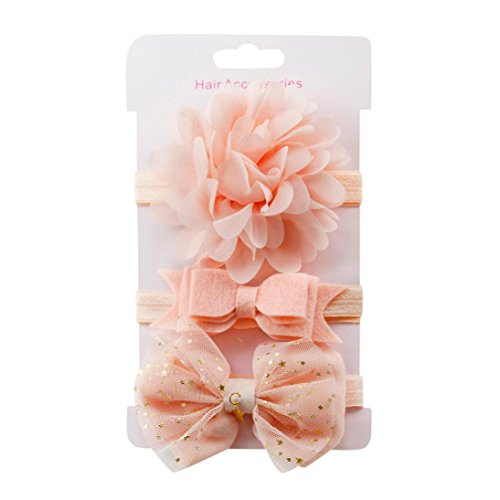 3-Pack Toddler Infant Baby Girl Headbands, Kids Elastic Floral Bowknot Hairband for Clothes Outfits Clothing 6 Months-8T (3PC Free Size, Pink c) from Goodtrade8-Baby-Girl-Clothes