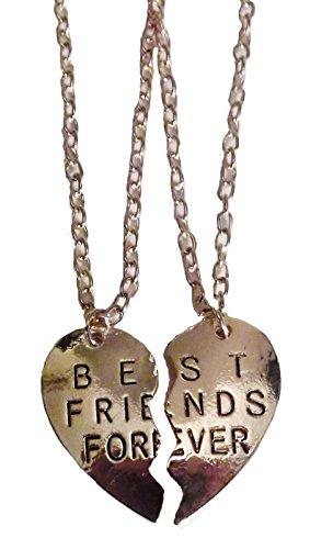 BEST FRIENDS FOREVER 2-piece Goldtone Split Heart PENDANT on 20