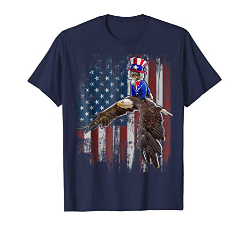Uncle Sam Costume Cat Eagle American Flag 4th of July Shirt ()