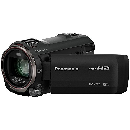 "PANASONIC HC-V770 Full HD Camcorder, 20X Optical Zoom, 1/2.3"" BSI Sensor, 5-Axis Hybrid O.I.S., HDR Capture, WiFi Smartphone Twin Video Capture (USA Black)"