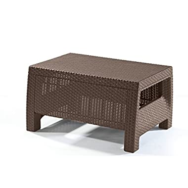 Keter Corfu Coffee Table Modern All Weather Outdoor Patio Garden Backyard Furniture, Brown
