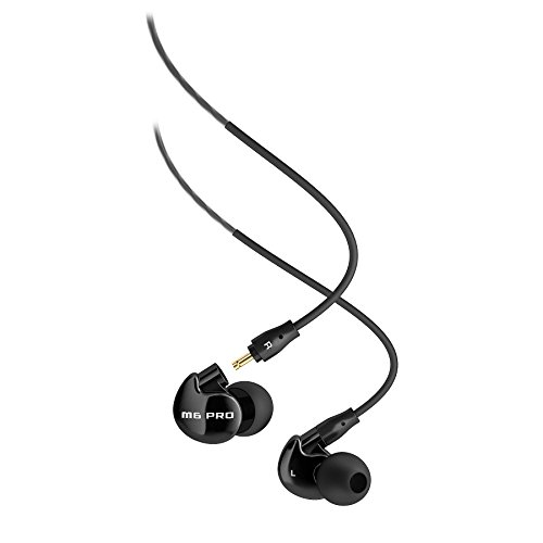 MEE audio M6 PRO Universal-Fit Noise-Isolating Musician's In-Ear Monitors with Detachable Cables ​(Jet Black​)​ - BLUCOIL Edition