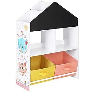 SONGMICS Meuble Enfant, Organisateur Jouets et Livres, Étagère de Rangement avec Tableau Noir, avec boîtes, étagères…