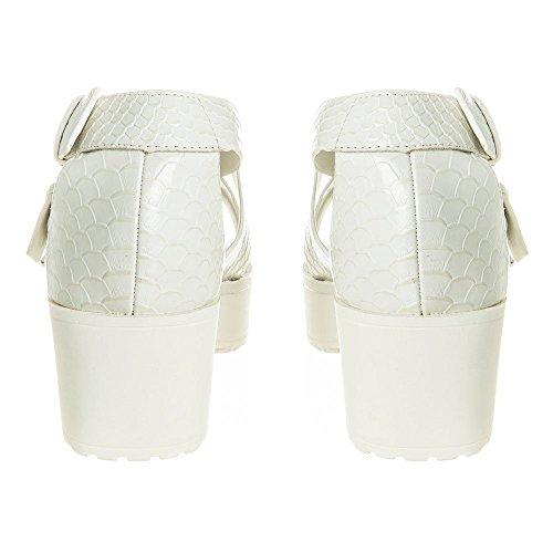 Snake Taglia Style Nuove Tacco Block Donna Bianco Sandalo Chunky Skin Gladiatore Piattaforma Serie WW7IqZ