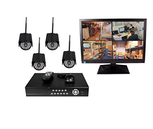 (4CH DVR COMPLETE SYSTEM, 500GB HD 4 WIRELESS CAMERAS WITH MONITOR)