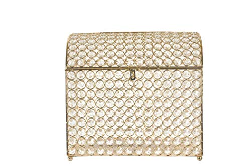 Crystal Money Card Box Wedding Quinceanera Treasure Chest Style (Gold)