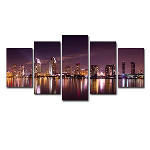 Mytinaart Art - Modern Wall Art San Diego California Skyline Purple Sky Night Scenery Posters Paintings Canvas Prints 5 Piece Pictures for Home Decor Living Room - Unframed - Price Only Print Canvas -