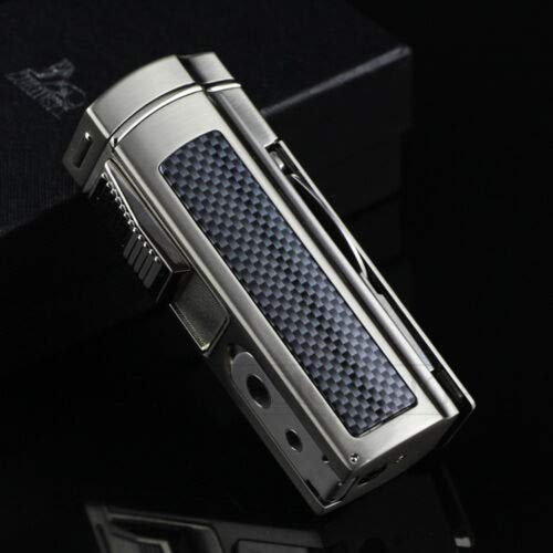 LUBINSKI/喫煙具/葉巻/シガーライター/シガーパンチ/カッター/LUBINSKI Blue Carbon Fiber Look 4 Flame Cigar Cigarette Lighter W/Punch & Cutter   B07SZCW141