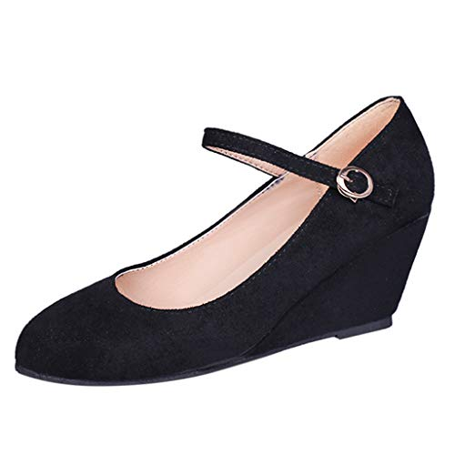 Fashion Respctful✿ Women's Mary Jane Closed Round Toe Buckled Strap Ankle Strappy Wedge Pump Black