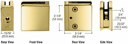 C.R. LAURENCE Z606BR CRL Brass Z-Series Square Type Radius Base Zinc Clamp for 1/4