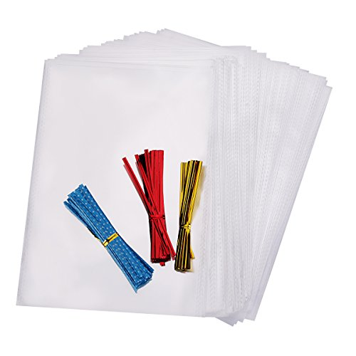 Home Kitty 200 6x9 inch Clear Flat Cello / Cellophane Treat Bags Good for Bakery, Candle, Soap, Cookie - 1.2 Mil Thick - 300 4 inch Gold and Red Colored and Blue ColoredTwist Ties