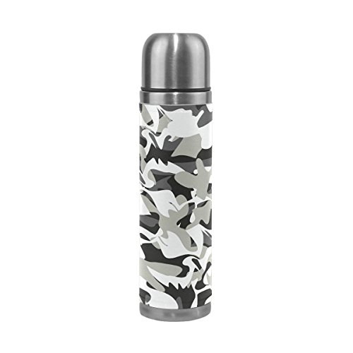 OuLian Dinosaur Camouflage Vacuum Insulated Stainless Steel Water Bottle Leak Proof Double Wall Construction Thermos Flask Genuine Leather Cover 17 Oz(500ml) (Flask Gsi Leather)