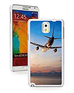 Samsung Galaxy Note 3 Hard Back Case Cover Airplane Flying Over Ocean (White)
