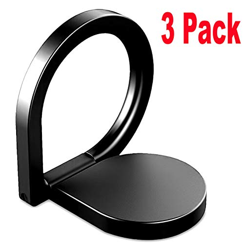 (3Pack Cell Phone Ring Holder Stand Finger,iEugen Universal Kickstand Loop Mount Stent 360 Rotary Safe Hand Grip,Compatible with Car mount for iPhone X XS XR MAX 8 7 7Plus Samsung Galaxy S7 S8 LG-Black)