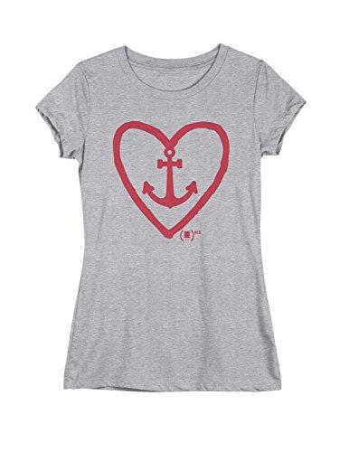 Nickelodeon Junior's (Spongebob) Red Women's Anchor Heart Tee, Heather Grey, (Spongebob Ladies Tee)