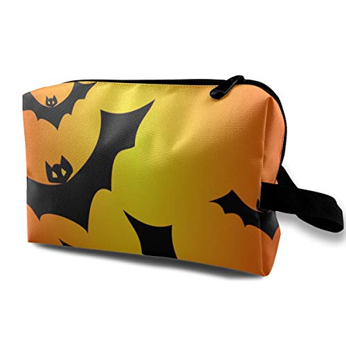 Jingclor Travel Case Cosmetic Storage Bags Halloween Bats Vector Clipart Illustration Makeup Clutch Pouch Zipper Wallet Pencil Holder]()