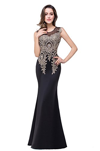 (MisShow Women's Rhinestone Long Lace Formal Mermaid Evening Prom Dresses Black)