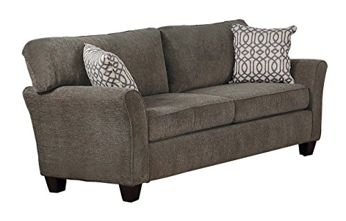 Homelegance Alain Flare Arm Loveseat with Two Decorative Pillows Chenille, Gray