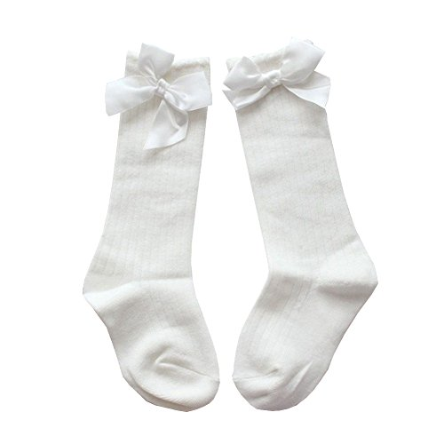 TheFound Unisex Baby Girls Boys Socks Knee High Stockings Bow Socks (0-2 Years, White) ()