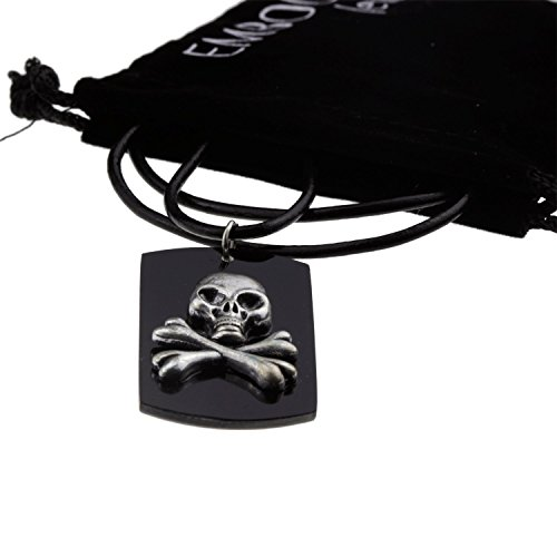 Silver Skull and Crossbones Halloween Pirate Pendant Black Chain Mood Necklace Jewelry for Teen Girls (Halloween Costum Ideas)