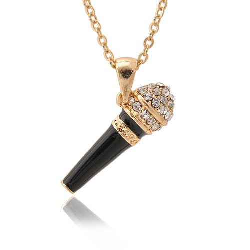 Silver Plated Crystal Black Karaoke Microphone Necklace (Gold Plated)
