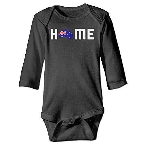 DMFS Infant Baby's Long Sleeve Romper Bodysuit Home is Called Australia Print Jumpsuit Onesie Black -
