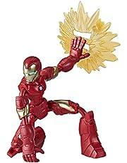 Marvel Avengers Bend and Flex-actiefiguur, flexibele Iron Man-figuur van 15 cm, met blastaccessoire, voor kinderen vanaf 6 jaar