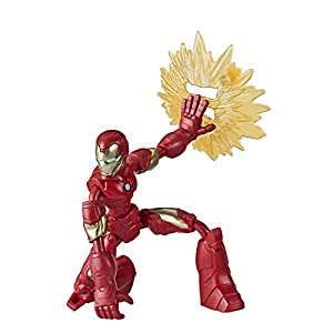 Avengers Marvel Bend and Flex Action Figure Toy, 6-Inch Flexible Iron Man Figure, Includes Blast Accessory, for Kids Ages 4 and Up