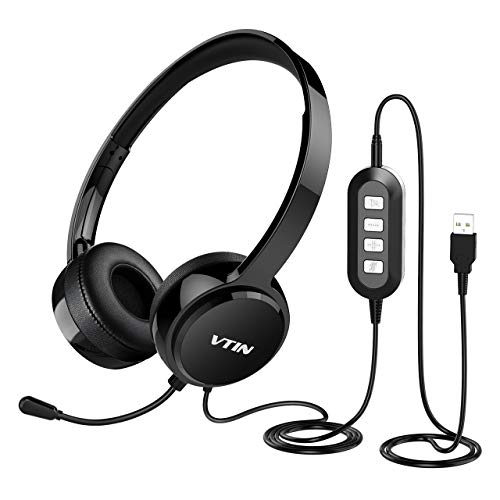Vtin Computer Headset with Microphone, Lightweight Wired 3.5mm/USB Headsets with Noise Cancelling Mic, Stereo Skype Headphones, Comfort-Fit Call Center Headsets for Laptop, PC, Phone, Mac