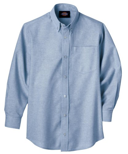 Dickies Long Sleeve Oxfords - Dickies Big Boys' Long Sleeve Oxford Shirt, Light Blue, Large (14/16)