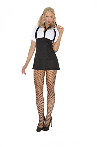 Sexy Business School Girl Naughty Teacher Roleplay Costume, Large, Black/White (School Teacher Costume)