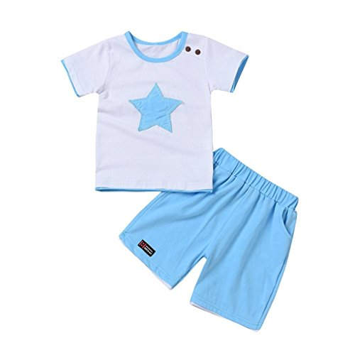Price comparison product image Creazrise 2Pcs Baby Boys Short Sleeve Set, Kids Stars Embroidery Crewneck T Shirt+Solid Shorts (Black, 1-3T) (Light Blue,  6M)