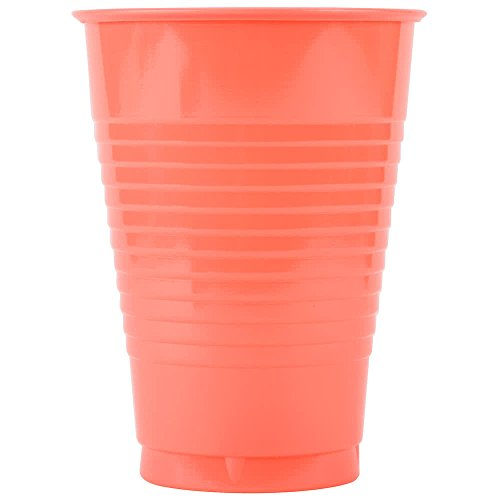 28314671 12 oz. Coral Orange Plastic Cup - 20/Pack By TableTop King