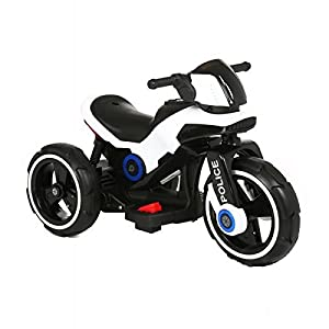 Ride-on Toys on Electric Police Tricycle Bike 6v Motor Aux Plug for Music, White, 29 x 16