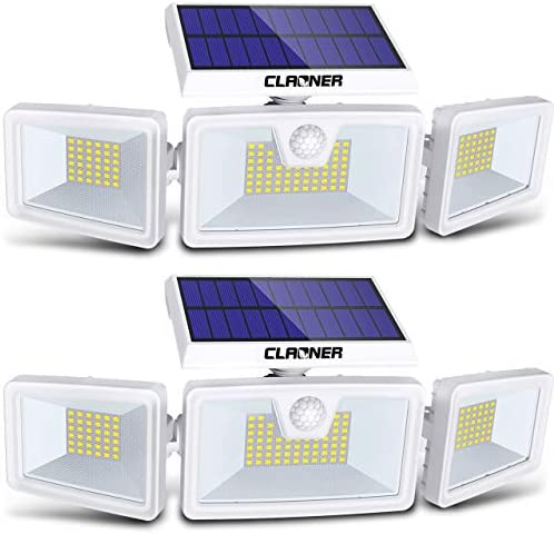 Claoner Solar Flood Lights, 132 LED 2 Packs Solar Motion Sensor Lights Outdoor 3 Adjustable Heads Solar Lights Outdoor IP65 Waterproof Solar Security Lights for Backyard Garage Driveway Porch Patio