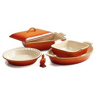 Le Creuset 6 Piece Flame Stoneware Heritage Bakware Set