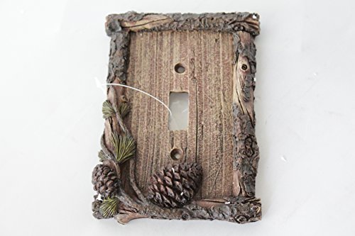 Pine Cone Switch Rocker Plate Covers Electric Outlet Plate Pine Wood Cabin Lodge Decor (single switch) ()