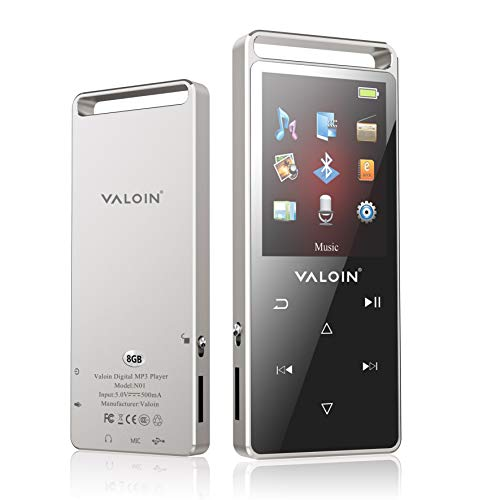 ValoinUS MP3 Player, 8GB MP3 Player with Bluetooth 4.0 Portable Hi-Fi Digital Music Player with FM Radio/Recorder,Wired Earphone is Included (Black)