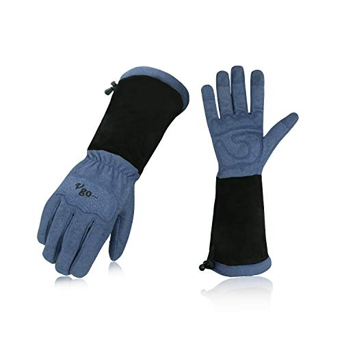 Vgo Synthetic Leather Gloves for Men and Women Extended Pig Split Leather Cuff Rose Pruning Thorn Proof Garden Work Gloves (1Pair, Size L,Blue,SL6592M)