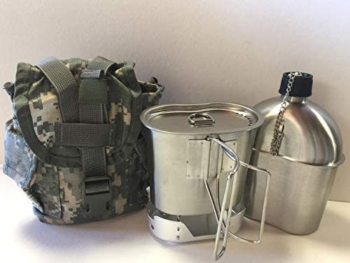 G.A.K G.I. Style 1 qt. Stainless Steel Canteen with Cup and Vented Lid with New (Aluminum) Stove Foldable, and Used Surplus G.I. Issue Cover (ACU MOLLE II)
