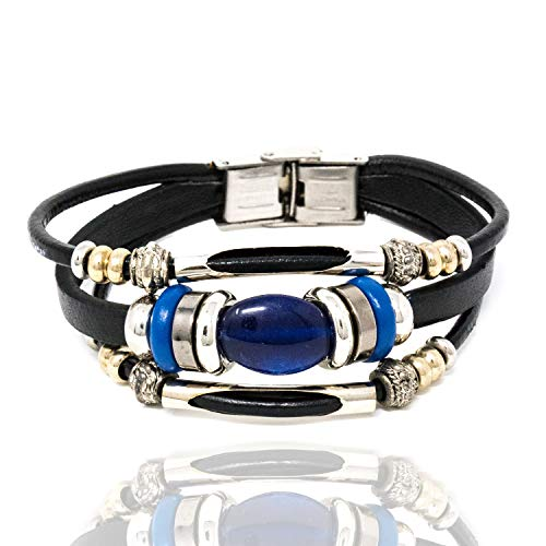 Chuvora Stainless Steel, Black & Brown Leather, Wood w/Blue Oval Lapis Lazuli Gemstone Beaded Wrap Bracelet